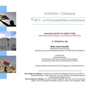 Colloque Palestine au sénat le 8 avril 2017
