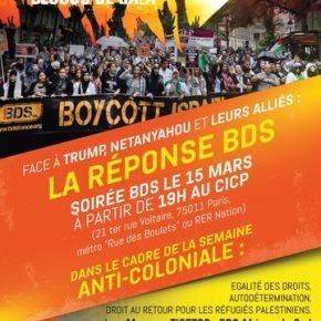 Soirée BDS/Palestine le 15 mars à Paris à 19H