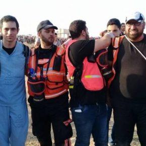 Le médecin Tarek Loubani victime d'une balle dans une jambe, près de la frontière de Gaza