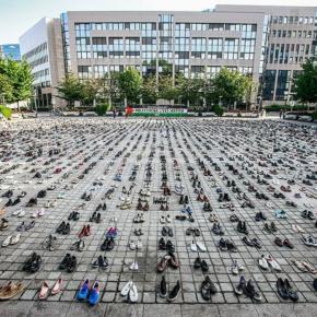 4500 paires de chaussures à Bruxelles le 28 mai 2018 pour les victimes de Gaza