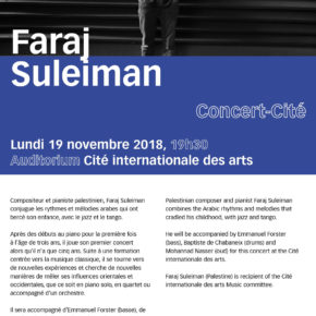 Paris CONCERT / FARAJ SULEIMAN, 19 novembre 2018 - Cité internationale des arts Paris