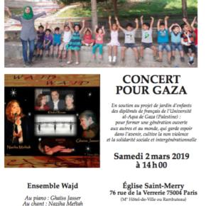 CONCERT POUR LES ENFANTS DE GAZA LE 2 MARS A ST-MERRY